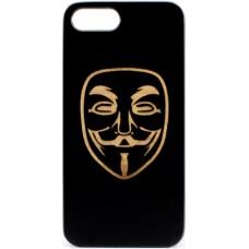 "Husa vintage din lemn acacia pentru iPhone 7/8, pirogravura - Acacia wood vintage case for iPhone 7/8, phyrography ""anonim mask"""