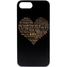 "Husa vintage din lemn acacia pentru iPhone 7/8, pirogravura - Acacia wood vintage case for iPhone 7/8, phyrography ""Heart with a Multilingual Message"""
