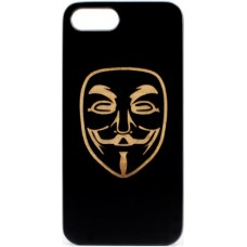 "Husa vintage din lemn acacia pentru iPhone 7/8 plus, pirogravura - Acacia wood vintage case for iPhone 7/8 Plus, phyrography ""Anonim mask"""
