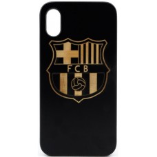 "Husa vintage din lemn acacia pentru iPhone X, pirogravura - Acacia wood vintage case for iPhone X, phyrography ""Logo FC Barcelona"""