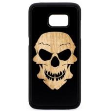 "Husa vintage din lemn acacia pentru Samsung Galaxy S7 Edge, pirogravura - Acacia wood vintage case for Samsung Galaxy S7 Edge, phyrography ""Tribal Skull"""