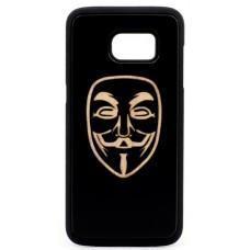 "Husa vintage din lemn acacia pentru Samsung Galaxy S7, pirogravura - Acacia wood vintage case for Samsung Galaxy S7, phyrography ""Anonim Mask"""