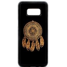 "Husa vintage din lemn acacia pentru Samsung Galaxy S8, pirogravura - Acacia wood vintage case for Samsung Galaxy S8, phyrography ""Talisman Dreamcatcher"""