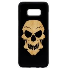 "Husa suvenir din lemn acacia pentru Samsung Galaxy S8, pirogravura - Acacia wood vintage case for Samsung Galaxy S8, phyrography ""Tribal Skull"""