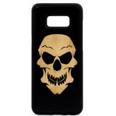 "Husa vintage din lemn acacia pentru Samsung Galaxy S8 Plus, pirogravura - Acacia wood vintage case for Samsung Galaxy S8 Plus, phyrography ""Tribal Skull"""