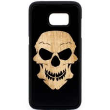 "Husa suvenir din lemn acacia pentru Samsung Galaxy S7, pirogravura - Acacia wood vintage case for Samsung Galaxy S7, phyrography ""Tribal skull"""